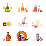 Drinking alcoholic set. Drink icon set. Alcoholic and non-alcoholic beverages - tea, champagne, lemonade, juice, wine, coffee, cocktails, cider and so. Vector Stock Images