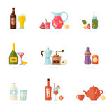 Drinking alcoholic set. Drink icon set. Alcoholic and non-alcoholic beverages - tea, champagne, lemonade, juice, wine, coffee, cocktails, cider and so. Vector Stock Photography