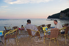 Drinking on the Beach in Budva Royalty Free Stock Photography