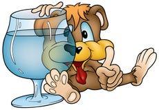 Drinking Bear. Colored cartoon illustration as vector royalty free illustration
