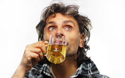 Drinking beer royalty free stock photo