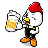 Drinking Beer Bhicken Character Stock Images