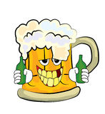 Drinking beer cartoon Royalty Free Stock Images