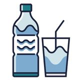 Drinking water LineColor illustration. Drinking bottle with glass filled with water vector illustration in line color design vector illustration