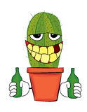 Drinking cactus cartoon Royalty Free Stock Photos