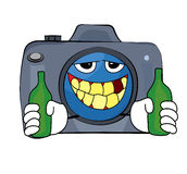 Drinking Camera cartoon Stock Images