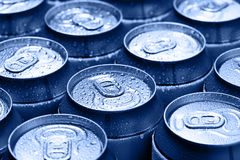 Drinking cans with dew Stock Photo