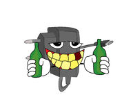 Drinking Charger cartoon Royalty Free Stock Photography