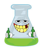 Drinking chemical flask cartoon Royalty Free Stock Images