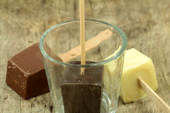 Drinking chocolate lollies Royalty Free Stock Photo
