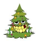 Drinking christmas tree cartoon Stock Photos