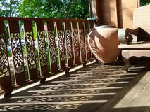 Drinking Clay water jar on wooden floor terrace Stock Images