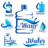 Drinking clean water delivery. Set of emblems and labels Royalty Free Illustration
