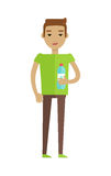 Drinking Clean Water Vector Flat Style Concept. Drinking clean water vector. Flat design. Young man standing with bottle of water. Healthy drinks. Valuable Royalty Free Stock Image
