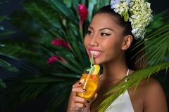 Drinking cocktail Royalty Free Stock Photography