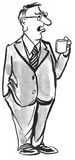 Drinking Coffee. Black and white illustration of a businessman drinking a cup of coffee Stock Illustration