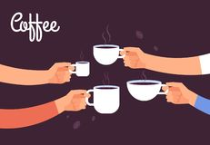 Drinking coffee concept. Friends drink coffee for breakfast. Break in office with espresso vector concept royalty free illustration