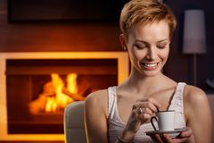 Drinking coffee in peace Stock Photo
