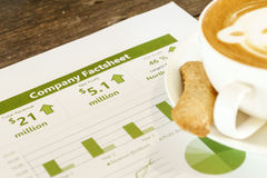Drinking coffee while reading company financial data Royalty Free Stock Image