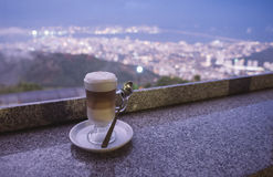 Drinking coffee on top of the hill Stock Photos