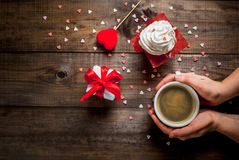 Drinking coffee, Valentine`s Day Royalty Free Stock Image