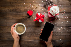 Drinking coffee, Valentine`s Day Stock Image