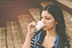 Drinking a coffee warm filter applied Royalty Free Stock Photography