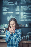 Drinking coffee Stock Image