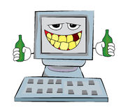 Drinking Computer cartoon Royalty Free Stock Photography