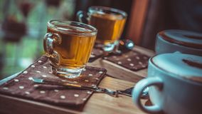 Drinking A Cup Of Hot Tea stock photography