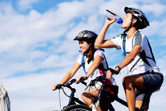 Drinking cyclist Stock Image