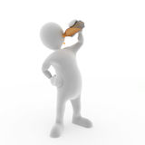 Drinking. 3D character Drinking some orange liquid Royalty Free Stock Images