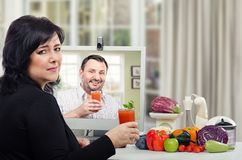 Drinking the detox smoothie with great reluctance Stock Photo