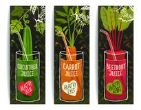Drinking Diet Vegetable Juice Cartoon Design on Royalty Free Stock Photos