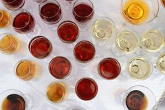 Binge on a buffet table. Drinking different kinds of close-up before a party in a cafe stock photography