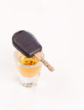 Drinking and Driving. Shot of Whiskey and car keys Royalty Free Stock Photography