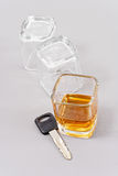 Drinking and Driving. Shot Of Whiskey And Car Key Stock Images