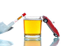 Drinking and driving. Concept of the dangers of drinking and driving Royalty Free Stock Photos