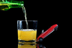 Drinking driving three. Concept of the dangers of drinking and driving Royalty Free Stock Image
