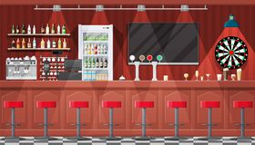 Interior of pub, cafe or bar. Drinking establishment. Interior of pub, cafe or bar. Bar counter, chairs and shelves with alcohol bottles. Glasses, tv, dart vector illustration
