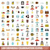 100 drinking examination icons set, flat style. 100 drinking examination icons set in flat style for any design vector illustration vector illustration