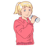 Drinking after exercise woman Stock Image