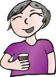 Drinking female. Cartoon smiling girl with grayish hair having a drink Royalty Free Stock Photography