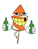 Drinking fireworks cartoon. Vector illustration of drinking fireworks cartoon Stock Photo