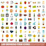 100 drinking firm icons set, flat style Stock Image