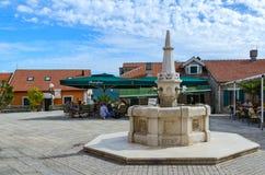 Drinking Fountain Karacha on Square Duke Stefan (Bellavista) Stock Photo