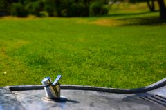 Drinking fountain in park. During the sunny day stock photography