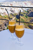 Drinking frappes on Santorini island, Greece Royalty Free Stock Image