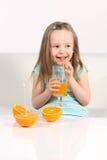 Drinking fresh juice Stock Image