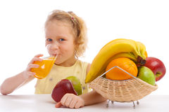 Drinking fresh juice Royalty Free Stock Image